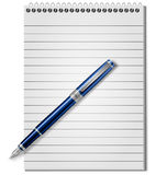 Notebook and pen. Spiral notebook and blue ballpoint Pen, Vector Royalty Free Stock Photography