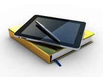 Notebook and pen and tablet Royalty Free Stock Image