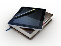 Notebook and pen and tablet Royalty Free Stock Photo