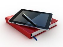 Notebook and pen and tablet on white background Stock Image