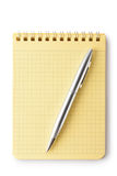 Notebook and pen. Top view. Stock Photo
