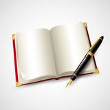 Notebook and pen. Vector illustration Stock Image