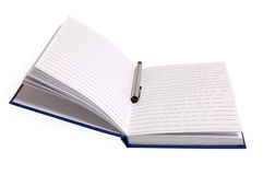Notebook with pen on white Stock Photos