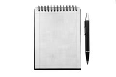 Notebook and pen. On a white background Royalty Free Stock Photo