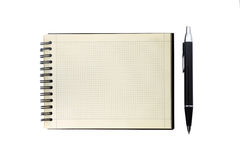 Notebook and pen. On a white background Stock Photos
