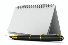 Notebook and pen on white background Stock Image