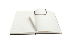 Notebook and pen on white with path Stock Photos