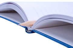 Notebook with pencil. Open notebook with  pencil  close up isolated Stock Photos