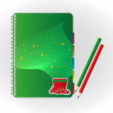 Notebook and pencil. Cover notebook and green red  pencil Stock Photography