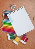 Notebook and pencil Royalty Free Stock Photos