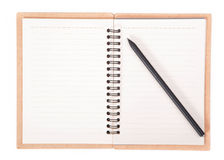 Notebook and pencil. Notepad and pencil on  white background Stock Photo