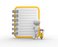 Notebook and a pencil. 3d people - man, person and a notebook and a pencil Royalty Free Stock Photos