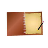 Notebook with pencil art  Royalty Free Stock Image