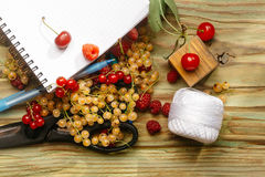 Notebook with pencil and berries. Spiral notebook with scissors, pencil and juicy berries Royalty Free Stock Image