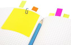 Notebook with pencil and bookmarks Stock Image