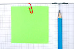 Notebook with pencil and bookmarks Stock Photography