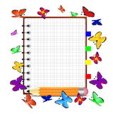 Notebook, pencil and butterfly. Vector illustration Stock Images