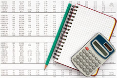 Notebook,pencil and calculator on financial statement Stock Photo