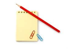 Notebook, pencil and clips Royalty Free Stock Photography
