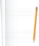 Notebook and pencil. Close up of notebook and yellow pencil on white background .Vector file Stock Photography