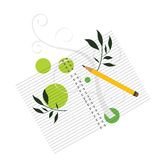 Notebook with pencil and decoartive coil Royalty Free Stock Photo