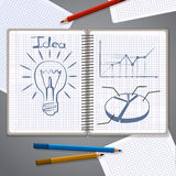 Notebook with pencil drawing chart and lightbulb Royalty Free Stock Photo