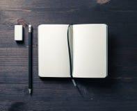 Notebook, pencil, eraser stock photo