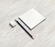 Notebook, pencil and eraser royalty free stock photos