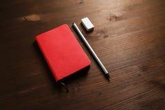 Notebook, pencil, eraser stock photos