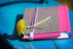 Notebook,pencil and flower Stock Photo