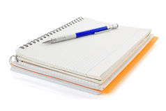 Notebook and pencil isolated on white Stock Photos