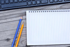 Notebook with pencil and keyboard pc Stock Image