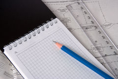 Notebook pencil line plan Royalty Free Stock Photo
