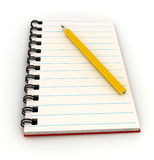 Notebook with pencil over white Royalty Free Stock Image