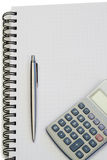 Notebook with pencil and pocket calculator Stock Photography