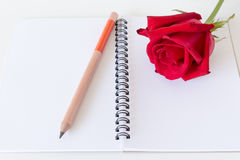 Notebook ,pencil and red rose white background. Notebook ,pencil and red rose on white background Royalty Free Stock Image