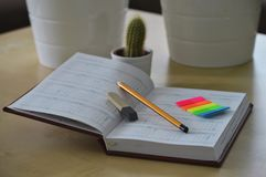 Notebook with pencil and rubber stock photography