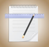 Notebook, pencil and ruler Stock Images