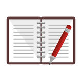 Notebook with pencil school supply icon Stock Photos