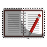 Notebook with pencil school supply icon Royalty Free Stock Photo