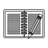Notebook with pencil school supply icon Stock Images