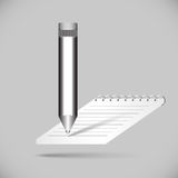 Notebook with pencil. Stationery of pencil and notebook for your design Royalty Free Stock Photo