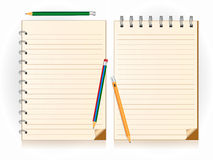 Notebook and pencil. Vector illustration Stock Photo