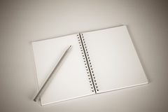 Notebook with a pencil Stock Photo