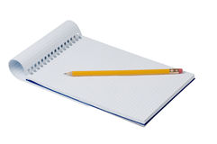Notebook and pencil. Notebook with pencil on white background Stock Photos