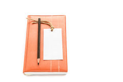 Notebook,pencil and white card on white background Stock Photos
