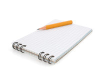Notebook and pencil on white Royalty Free Stock Photography