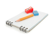 Notebook and pencil on white Stock Photos