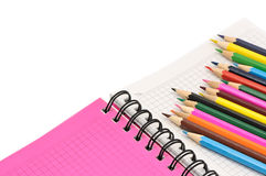 Notebook and pencils Royalty Free Stock Images