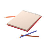 Notebook and pencils isolated of a white background. Stock Photos